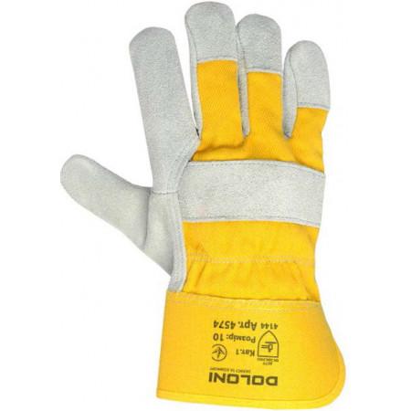 4574 Рукавички спилкові комбіновані жовті