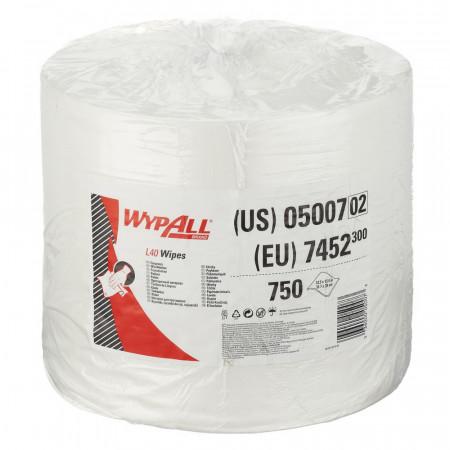 7452 Протиральний матеріал Wypall® L40, білий, 1 шар, 750 відривів