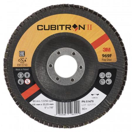 51470 Диск зачисний, 3M™Cubitron™ Пелюстковий 969F, 125мм,Т29конічний P80