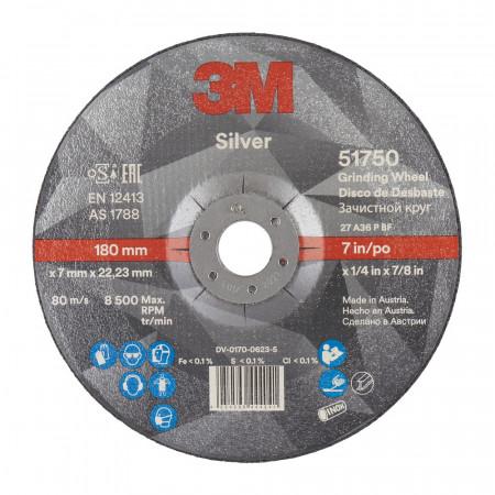 51750 Диск зачисний, 3M™ Silver,T27, 180 мм х 7 мм х 22 мм