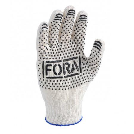 15200 Рукавички трикотажні з ПВХ 7 клас FORA білі