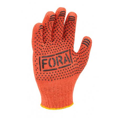 15300 Рукавички трикотажні з ПВХ 7 клас FORA помаранчеві